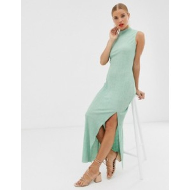 エイソス レディース ワンピース トップス ASOS DESIGN sleeveless high neck plisse maxi dress Mint