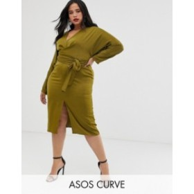エイソス レディース ワンピース トップス ASOS DESIGN Curve midi dress with batwing sleeve and wrap waist in satin Olive