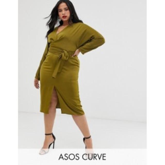 エイソス レディース ワンピース トップス ASOS DESIGN Curve midi dress with batwing sleeve and wrap waist in satin Olive
