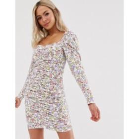 エイソス レディース ワンピース トップス ASOS DESIGN mini ruched front dress in ditsy floral Ditsy print