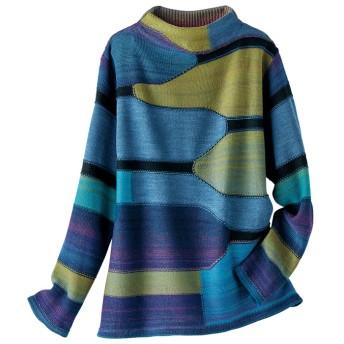 ベルーナ かすり使いボトルネックデザインセーター ブルー M レディース