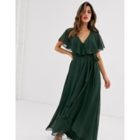 エイソス レディース ワンピース トップス ASOS DESIGN cape back dipped hem maxi dress Green