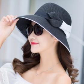 麦わら帽子 レディース ペーパーハット UVカット 春夏つば広 ストローハット  遮光 日焼け防止  紫外線防止 折りたたみ 携帯便利 サイズ