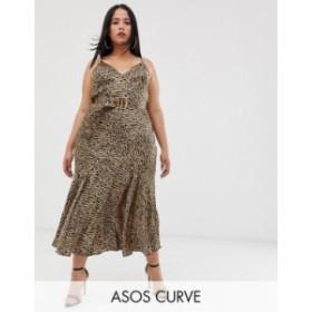 エイソス レディース ワンピース トップス ASOS DESIGN Curve bias cut maxi slip dress in leopard print with bamboo belt Leopard pri