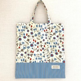 縦型小さなレッスンバッグ(ブルーの花)