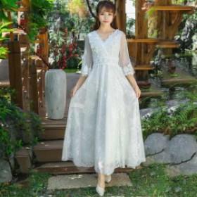 パーティードレス ミモレ丈  花嫁ウェディングドレス 結婚式 ワンピース Aライン パーティードレス 体型カバー 着痩せ 披露宴