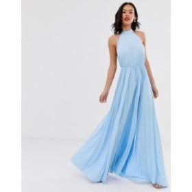 エイソス レディース ワンピース トップス ASOS DESIGN Halter Pleated Waisted Maxi Dress Bluebell