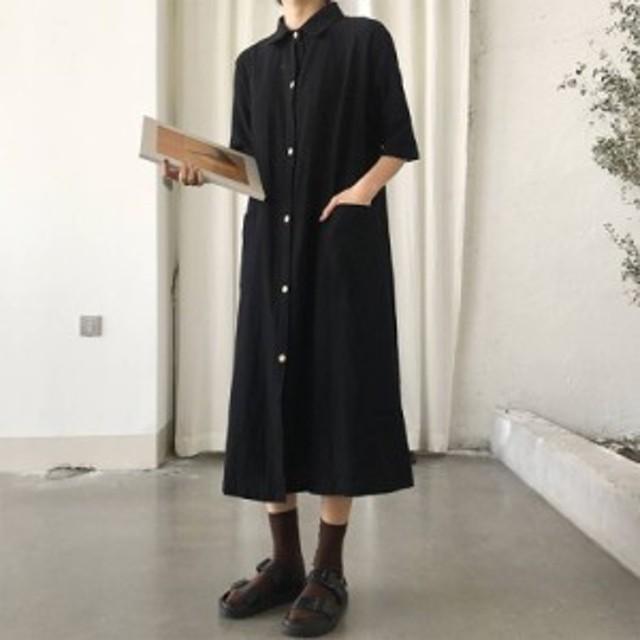 韓国 ファッション レディース シャツワンピース シャツワンピ ロング 大きいサイズ ゆったり オルチャン 無地 半袖 カジュアル シンプル