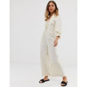エイソス レディース ワンピース トップス ASOS DESIGN Lace up front blouson sleeve jumpsuit Cream