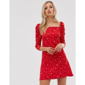 リバーアイランド レディース ワンピース トップス River Island mini dress with square neck in red floral print Red floral