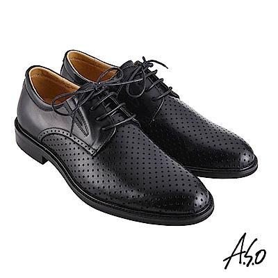 A.S.O 阿瘦 職場通勤 職人通勤刷色沖孔德比紳士鞋 黑 10012000459-99