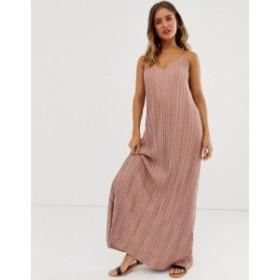 エイソス レディース ワンピース トップス ASOS DESIGN plisse plunge cami maxi dress in polka dot  Spot print