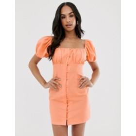 エイソス レディース ワンピース トップス ASOS DESIGN sweetheart ruched bust button through mini dress Washed orange