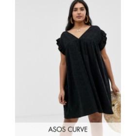 エイソス レディース ワンピース トップス ASOS DESIGN Curve reversible frill sleeve broderie smock dress Black