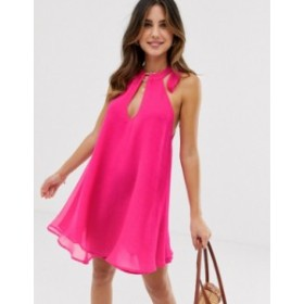 リバーアイランド レディース ワンピース トップス River Island beach swing dress in bright pink Pink