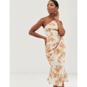 エイソス レディース ワンピース トップス ASOS DESIGN one shoulder tuck detail midi dress in Floral Print Multi