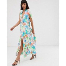 エイソス レディース ワンピース トップス ASOS DESIGN plunge neck modern maxi dress with cape sleeves in floral print Floral print