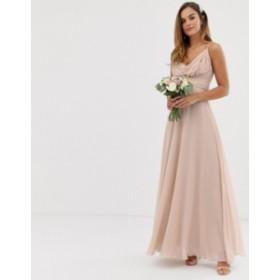 エイソス レディース ワンピース トップス ASOS DESIGN Bridesmaid cami wrap tie waist maxi dress with layered skirt Soft blush