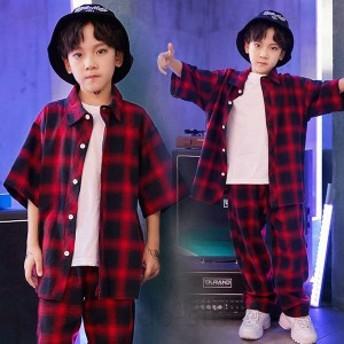 ダンス衣装 ヒップホップ チェック柄 子供 キッズ セットアップ シャツ パンツ 男の子 女の子 ダンス衣装 ジャズダンス ステージ衣装 練