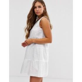 エイソス レディース ワンピース トップス ASOS DESIGN sleeveless tiered mini smock dress in broderie White