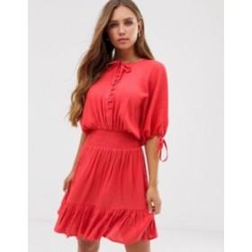 エイソス レディース ワンピース トップス ASOS DESIGN short sleeve mini dress with elasticated waist in crinkle Red