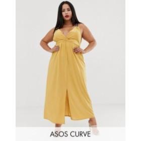 エイソス レディース ワンピース トップス ASOS DESIGN Curve slinky maxi dress with ring detail Yellow