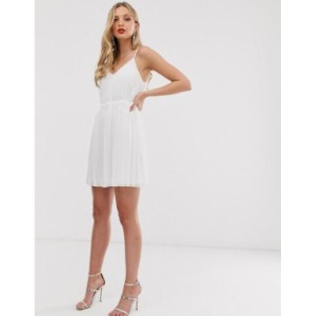 エイソス レディース ワンピース トップス ASOS DESIGN pleated cami mini dress with ruched waist White