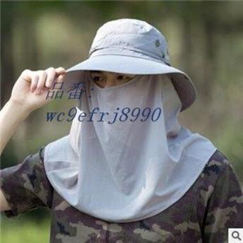 サンバイザー メンズ UVカット帽子 ハット 釣り 帽子 日よけ帽子 遮光 フェイスカバー 日焼け止め アウトドア 紫外線対策用 通気性 農作