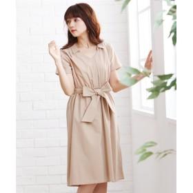 ウエストリボンスキッパーシャツワンピース (ワンピース),dress