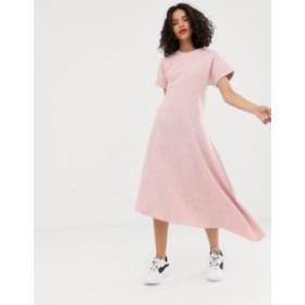 エイソス レディース ワンピース トップス ASOS WHITE pink textured short sleeved midi dress Pink