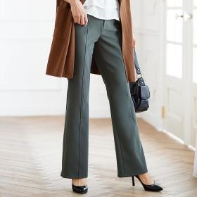 ベルーナ ハイテンションカルゼ素材美脚パンツ(ブーツカット) ネイビー M レディース