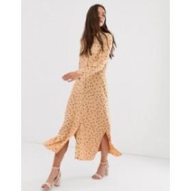 エイソス レディース ワンピース トップス ASOS DESIGN maxi shirt dress in polka dot  Caramel/brown spot