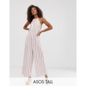 エイソス レディース ワンピース トップス ASOS DESIGN Tall minimal stripe print halter jumpsuit Red/cream