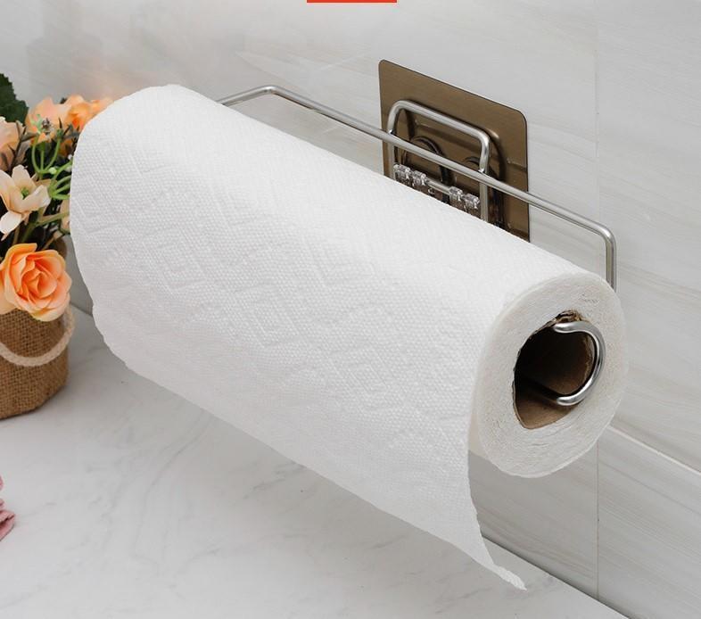 雙慶家居5198廚房衛生間捲紙架壁掛式不銹鋼捲紙架免打孔捲紙器5198