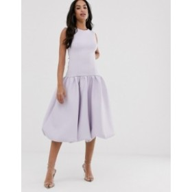 エイソス レディース ワンピース トップス ASOS DESIGN bubble hem drop waist midi dress Pastel lilac