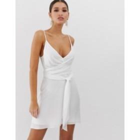 エイソス レディース ワンピース トップス ASOS DESIGN cami wrap mini dress with tie waist Ivory