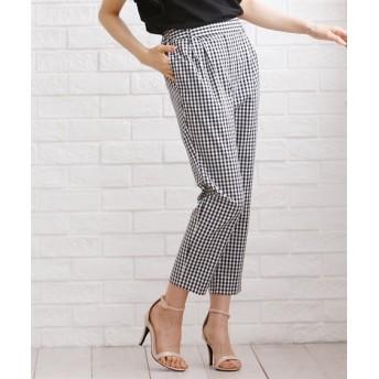 ギンガムチェックセンタープレステーパードパンツ (レディースパンツ),pants