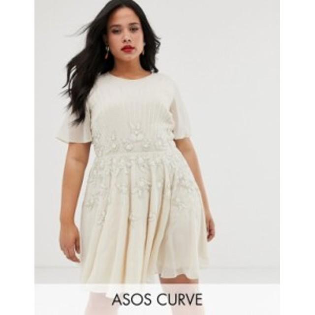 エイソス レディース ワンピース トップス ASOS DESIGN Curve pretty embellished smock mini dress Cream