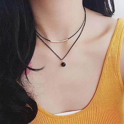 梨花HaNA 韓國個性使然絕美黑水晶雙層吊綴頸鍊