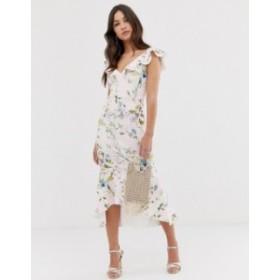 エイソス レディース ワンピース トップス ASOS DESIGN Stripe floral printed ruffle midi dress Multi