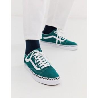 バンズ メンズ スニーカー シューズ Vans Old Skool sneakers with checkerboard taping in green Green