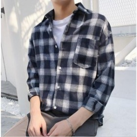 シャツ 春秋物 メンズ チェク柄  薄手ポロシャツ スウェット 長袖開襟 ゆったり  トップス 通勤アウター