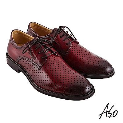 A.S.O職場通勤 職人通勤刷色沖孔德比紳士鞋-酒紅