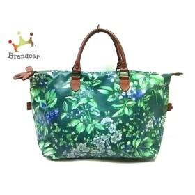 ローラアシュレイ ハンドバッグ グリーン×ブルー×マルチ 花柄 PVC(塩化ビニール)×レザー 新着 20190627