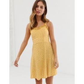 ニュールック レディース ワンピース トップス New Look sundress with ruffle edge in yellow ditsy floral print Yellow pattern