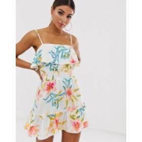 リバーアイランド レディース ワンピース トップス River Island beach dress with ruffle hem in tropical print Cream print