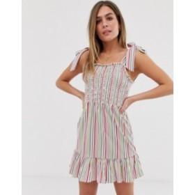 エイソス レディース ワンピース トップス ASOS DESIGN shirred broderie sundress with tie straps in rainbow stripe Rainbow stripe