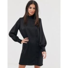 リバーアイランド レディース ワンピース トップス River Island swing dress with asymmetric buttons in black Black