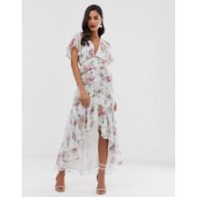 エイソス レディース ワンピース トップス ASOS DESIGN midi dress in spot and floral with lace trim detail Floral and spot