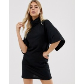 エイソス レディース ワンピース トップス ASOS DESIGN cowl neck exposed seam trumpet sleeve mini dress Black